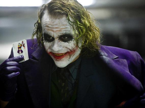 "Heath Ledger as The Joker in ""The Dark Knight."""