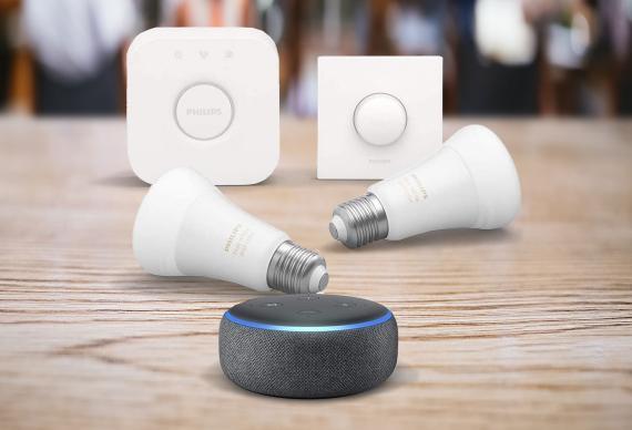 Echo Dot (3.ª generación), tela de color antracita + Philips Hue