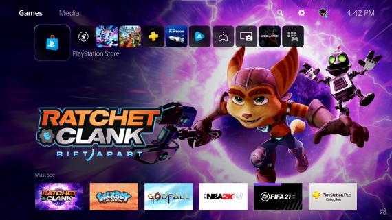 Una muestra de la interfaz de PlayStation 5.