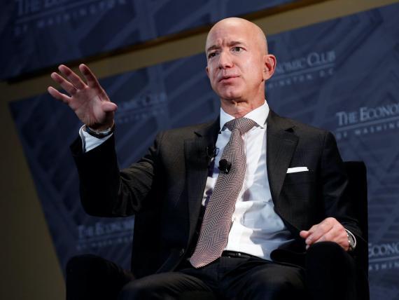 Amazon's CEO Jeff Bezos speaks at an event in Washington.