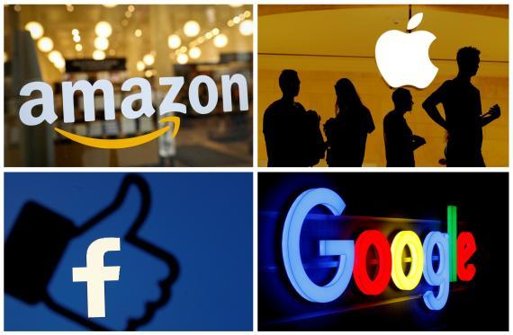 Logotipos de Amazon, Apple, Facebook y Google