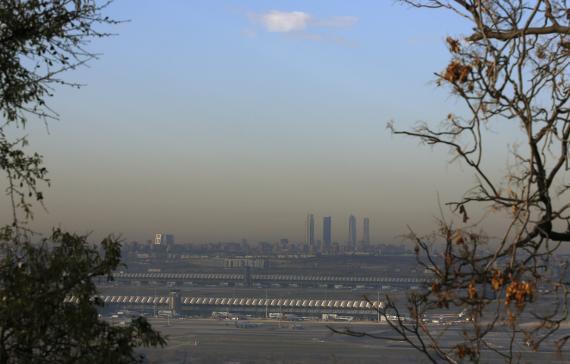 La famosa nube de polución de Madrid.