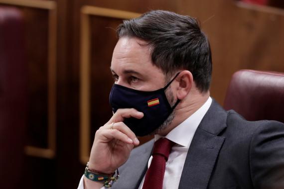 Santiago Abascal, líder de Vox, durante la moción de censura a Pedro Sánchez.