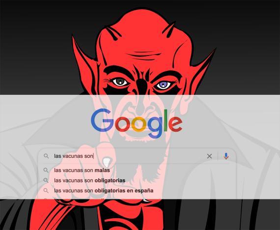 Sugerencias de autocompletado de Google para una búsqueda de vacunas