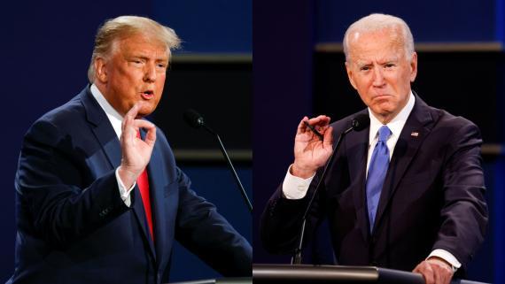 El actual presidente de EEUU, Donald Trump, y el candidato demócrata a la presidencia Joe Biden