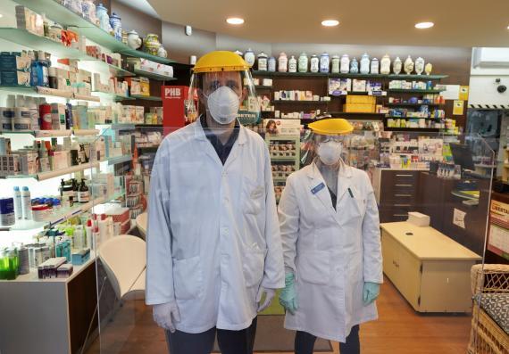 Farmacéuticos en Madrid durante el confinamiento