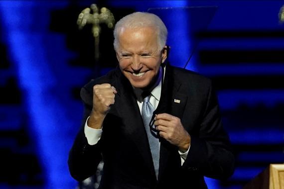 Joe Biden, presidente electo de Estados Unidos, en la noche de su discurso de victoria