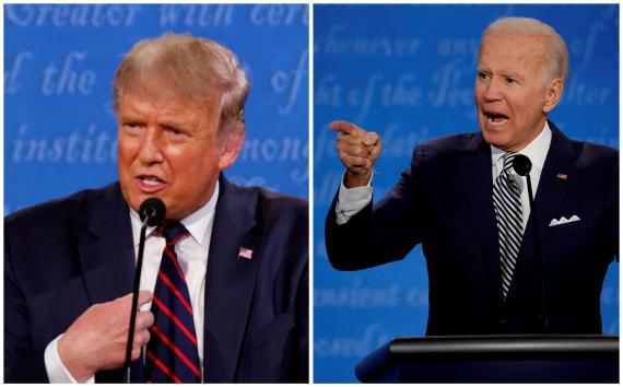 Donald Trump y Joe Biden en uno de los debates electorales.