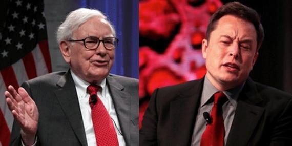 Warren Buffett (left) and Elon Musk (right)