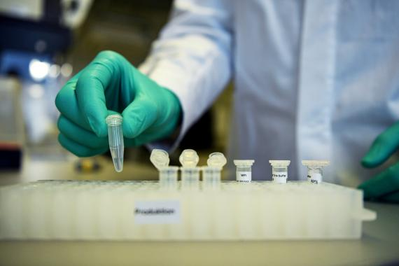 Un empleado de CureVac, trabajando con el prototipo de la vacuna contra el COVID-19.