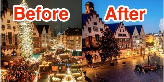 Plaza Roemerberg de Fráncfort, Alemania, antes y después de la pandemia de coronavirus.