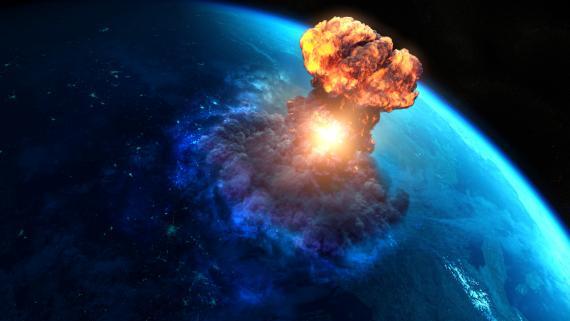 Asteroide impactando contra la Tierra.