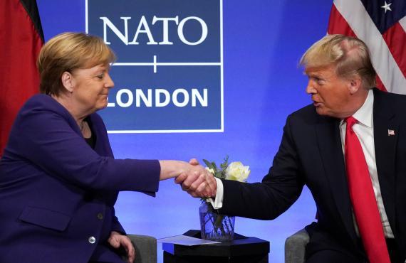 La canciller alemana Angela Merkel y el presidente estadounidense Donald Trump