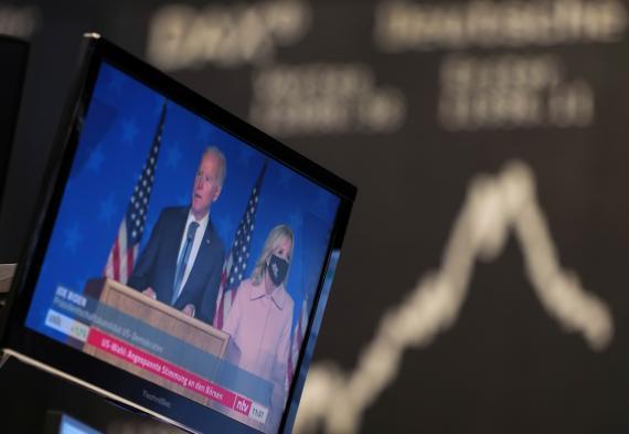La reacción de los mercados a la elección de Joe Biden como presidente de los EEUU en un parqué europeo.