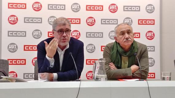 Los secretarios generales de CCOO, Unai Sordo, y UGT, José María Álvarez
