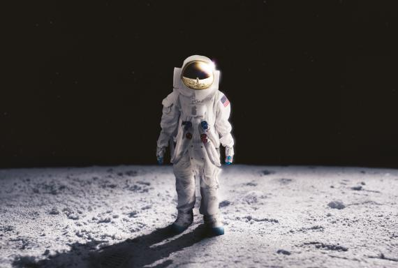Astronauta en la Luna.