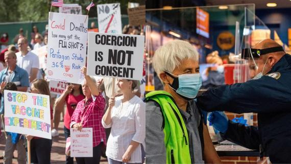 Activistas antivacunas protestan frente a la Casa del Estado de Massachusetts en Boston el 30 de agosto de 2020 y un trabajador del personal entrega una dosis de la vacuna COVID-19 a un paciente en Fenway Park en Boston el 29 de enero de 2021.