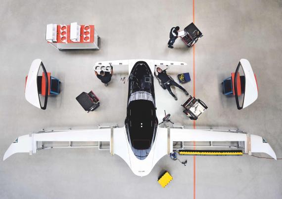 Un prototipo de coche volador de la startup alemana Lilium en Múnich.