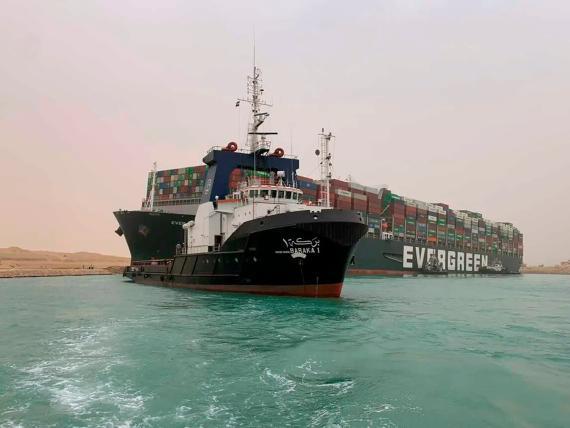 El carguero que bloqueaba el Canal de Suez.