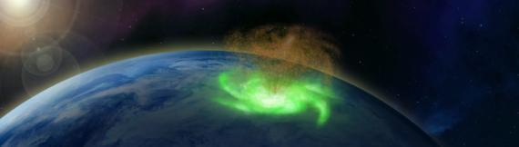 Ilustración de un huracán espacial sobre el Polo Norte.