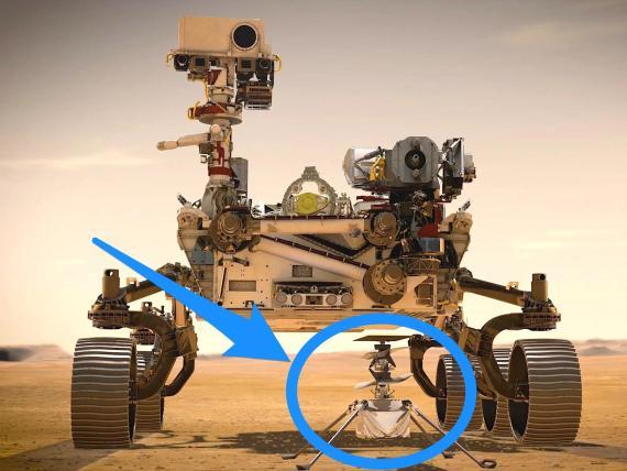 Ilustración de un artista que muestra el rover Perseverance de la NASA y el helicóptero Ingenuity, en Marte.