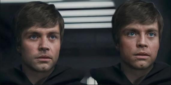 A la izquierda, Luke Skywalker creado por CGI, en 'The Mandalorian'; a la derecha, el 'deepfake' de un usuario que hace más real el rostro del jedi.