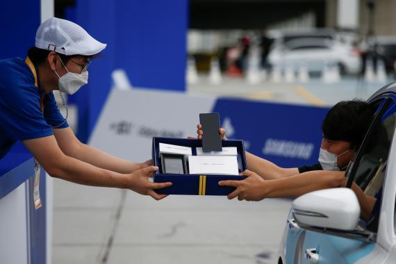Recogida de compras de modelos Galaxy Note 20 de Samsung en Seúl (Corea del Sur)