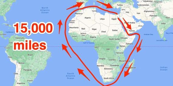 Una ilustración de la ruta marítima desde el Mar Rojo hasta el Mediterráneo oriental sin utilizar el Canal de Suez.