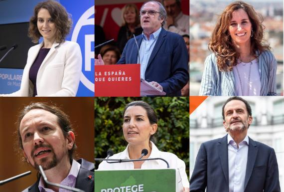 De izquierda a derecha: Isabel Díaz Ayuso (PP), Ángel Gabilondo (PSOE), Mónica García (Más Madrid), Pablo Iglesias (UP), Rocío Monasterio (VOX) y Edmundo Bal (Cs).