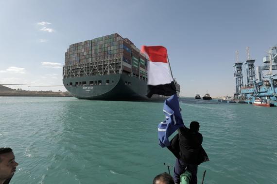 Celebración en el canal de Suez tras la liberación del Ever Given. Autoridad del Canal de Suez