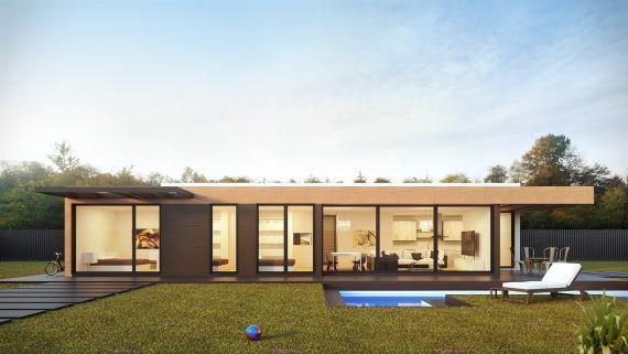 Una elegante casa prefabricada.