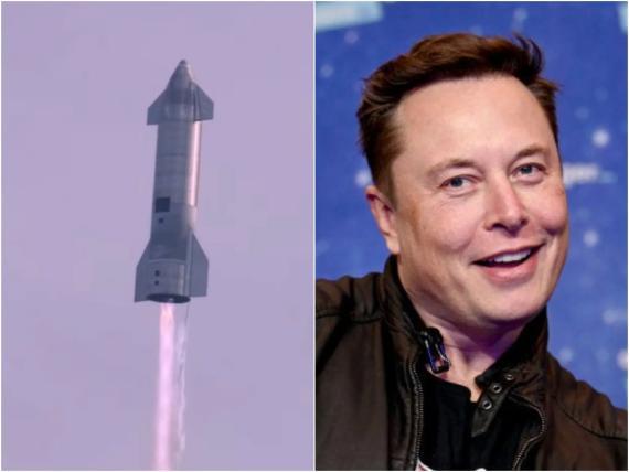 A la izquierda, el prototipo Starship SN10 sobre Boca Chica, en Texas (Estados Unidos), el 3 de marzo de 2021; a la derecha, Elon Musk, CEO de SpaceX.