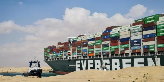The Ever Given, a Panama-flagged cargo ship, is seen in the Suez Canal in Egypt, on March 27, 2021.
