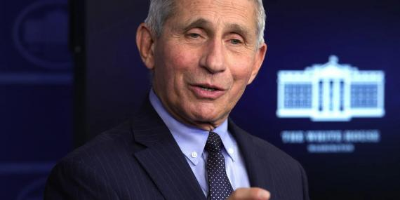 Dr Anthony Fauci, Director of the National Institute of Allergy and Infectious Diseases, during a White House press briefing on January 21, 2021 in Washington.