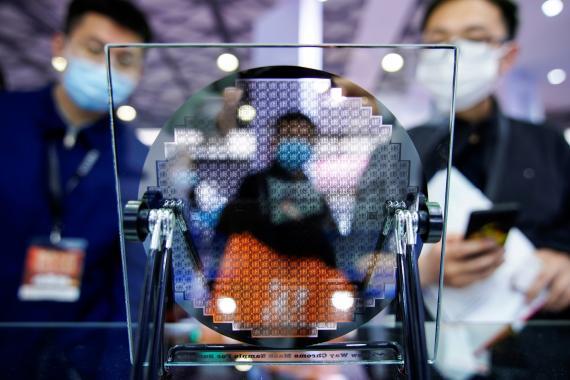 Feria de semiconductores en Shangái (China) en marzo de 2021