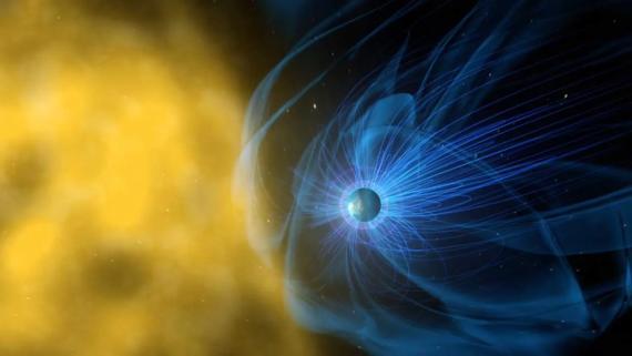 Representación de un artista del campo magnético de la Tierra, que protege al planeta de la radiación solar.