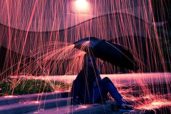 Representación de la lluvia en otro planeta.