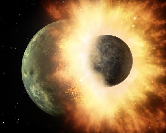 Representación artística de un impacto de un protoplaneta como Theia y la Tierra.