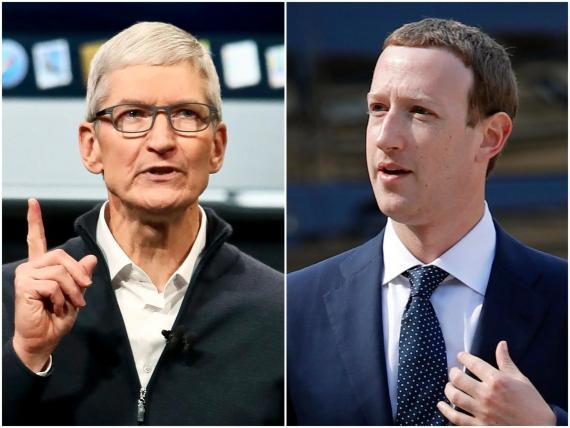 A la izquierda, el CEO de Apple, Tim Cook. A la derecha, el CEO de Facebook, Mark Zuckerberg.