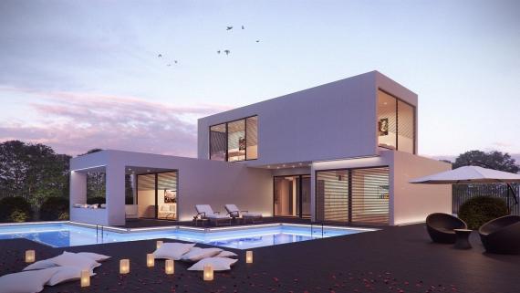 Una casa prefabricada con jardín.