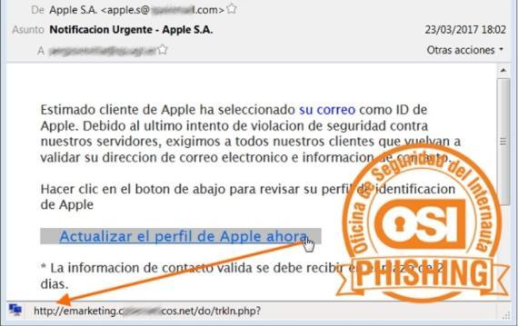 Un ejemplo de phishing suplantando a Apple (OSI)