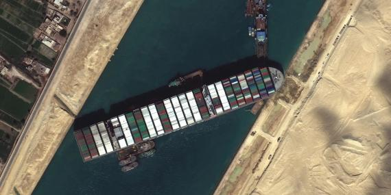 Container ship Ever Given stuck in the Suez Canal, Egypt on March 27, 2021.
