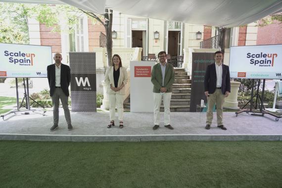 Javier Megías (Bankinter), Paloma Castellano (Wayra), Juan Moreno (Bankinter) y Antonio Iglesias (Endeavor), en la presentación de ScaleUp Spain Network