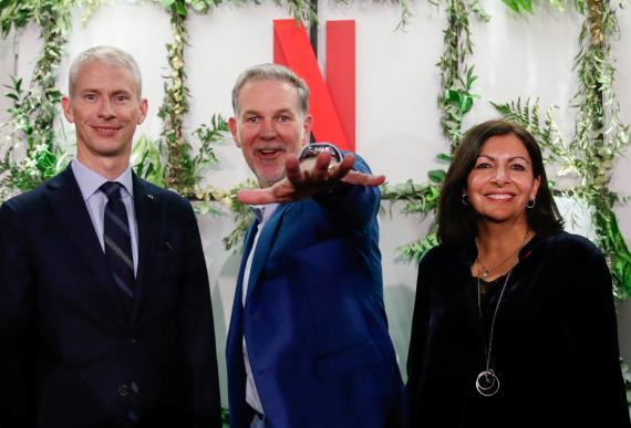 Reed Hastings, CEO de Netflix durante la apertura de las oficinas de la compañía en París en 2020.
