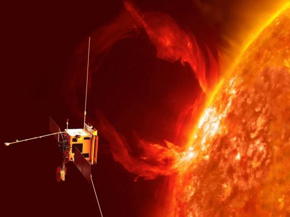 Impresión de un artista del Solar Orbiter observando una erupción en el sol.
