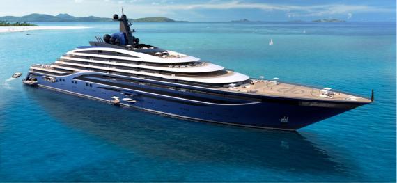 Recreación artística del Somnio, el mayor yate del mundo que contará con 39 lujosos apartamentos a bordo.