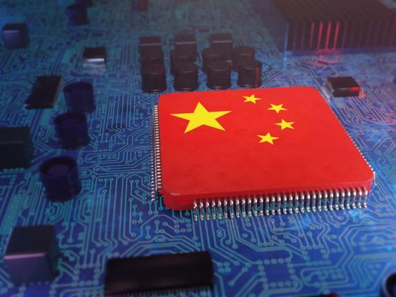 Un chip con la bandera de China.