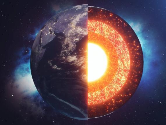 Ilustración del núcleo de la Tierra.