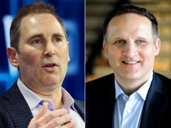 A la izquierda Andy Jassy, actual CEO de Amazon y a la derecha Adam Selipsky, el nuevo CEO de Amazon Web Services.
