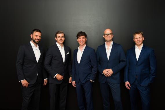 Los fundadores de Blockpit; Vladimir Tosovic (CMO), Magnus Berchtold (CTO), Florian Wimmer (CEO), Gerd Karlhuber (COO) y Thomas Buchsteiner (CTO)